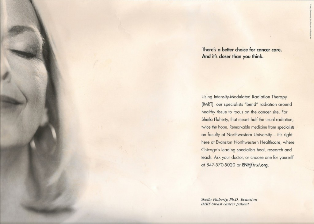 Evanston Northwestern Hospital Breast Cancer Treatment Advertisement. Photo & Advertisement © 2003, ENH