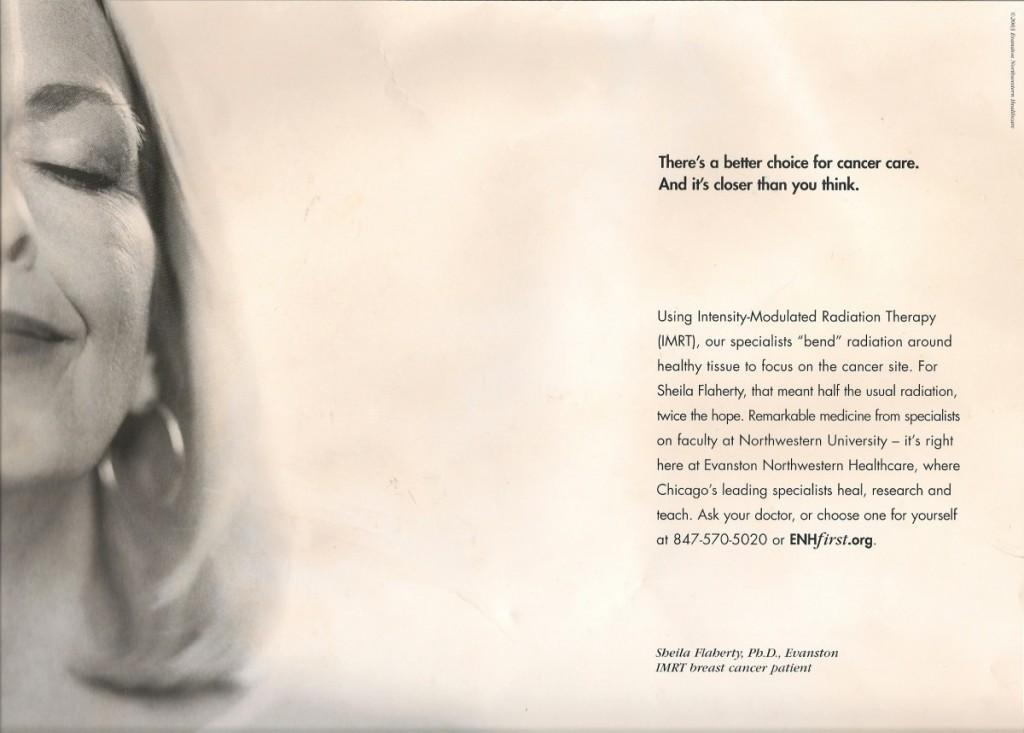 Evanston Northwestern Hospital Breast Cancer Treatment Advertisement. Photo & Advertisement © 2003, ENH